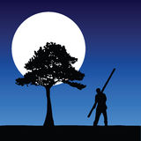 Worker on the moonlight vector Royalty Free Stock Image