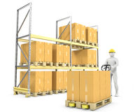 Worker moves boxes with pallet truck Stock Image
