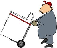 Worker Moving A Washer Or Dryer. This illustration depicts a man using a hand truck to move a washing machine or clothes dryer vector illustration