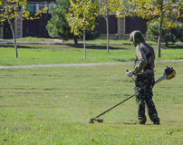 Worker mowing the lawn. Mowing grass trimmer Royalty Free Stock Photo