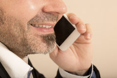 Worker office man talking on the telephone mobile Royalty Free Stock Photos