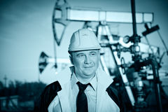 Worker in an Oil field Stock Image