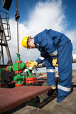Worker on the oil field. Refinery, oil and gas Royalty Free Stock Image