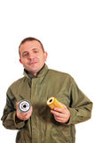 Worker with the oil filter Royalty Free Stock Photo