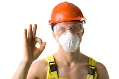 Worker with ok Stock Image