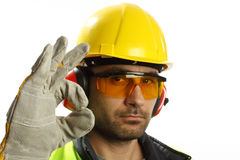 Worker with OK sign Royalty Free Stock Images