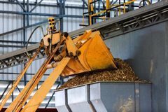 Worker operate truck timber grab for transport and loading. Worker operate truck timber grab for loading into furnace Royalty Free Stock Image