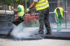 Worker operating asphalt paver machine during road construction Stock Photos