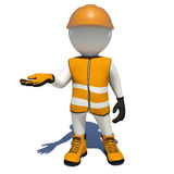 Worker in orange overalls holding empty palm up Royalty Free Stock Photos