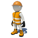 Worker in orange overalls. Isolated Stock Photo