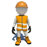 Worker in orange overalls. Isolated Stock Image