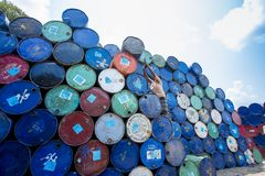 A worker organizes barrels at Karnafuli Rivers Sadarghat areas, Chittagong, Bangladesh. Karnafuli River Sadarghat areas, Chittagong, Bagladesh. Chittagong is Royalty Free Stock Images