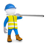 Worker in overalls carries a pipe. Isolated render on a white background Stock Photos