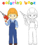 Worker in overalls and helmet with with drill. Coloring book. Ga Royalty Free Stock Photos