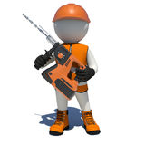 Worker in overalls holding electric perforator royalty free illustration