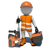 Worker in overalls holding electric perforator and royalty free illustration