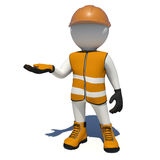 Worker in overalls holding empty palm up. Isolated Stock Photo