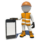 Worker in overalls holding smart phone with empty Stock Photos