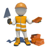 Worker in overalls holding trowel and red brick Stock Photography