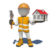 Worker in overalls holding wrench and small house Royalty Free Stock Photography