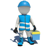 Worker in overalls holding wrench and tool box Stock Photography