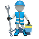 Worker in overalls holding wrench and tool box Royalty Free Stock Images