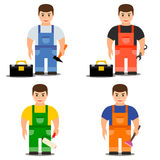 Worker in overalls, vector illustration. Royalty Free Stock Images
