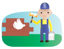 Worker paint roller. Vector illustration. Workman with paint roller and bucket of paint Stock Images