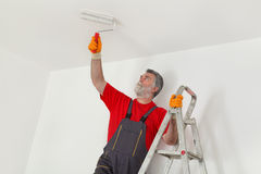 Worker paint wall in a room Stock Photo