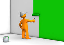 Worker painting wall green Royalty Free Stock Image