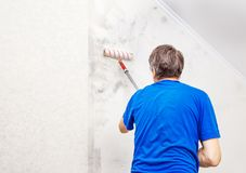 Worker Painting Wall With Background Glue For A Wallpaper Royalty Free Stock Photography