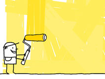 Worker painting a yellow background. Hand drawn cartoon - worker painting a yellow background Stock Photo