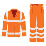 Worker pants and jacket. Vector illustration of orange worker jacket and pants. Protective safety  jacket and pants with reflective stripes Royalty Free Stock Photography