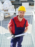 Worker with paper project Stock Image