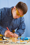 Worker with pencil Royalty Free Stock Images