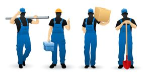 Worker people set of man cartoon personage Royalty Free Stock Image