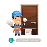 Worker Performs Finishing Doorway Work. In the EPS file, each element is grouped separately. Clipping paths included Royalty Free Stock Photography