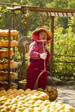 Worker in persimmon processing Stock Images