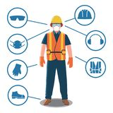 Worker with Personal Protective Equipment and Safety Icons. Construction worker with helmet, gloves and shoes stock illustration