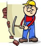 Worker with pick cartoon illustration Stock Photo