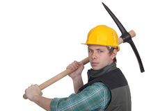 Worker with a pickaxe Stock Image