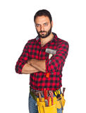 Worker with plaid shirt Stock Images
