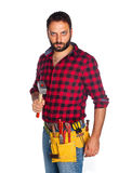 Worker with plaid shirt Royalty Free Stock Photography