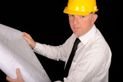 Worker with plans Royalty Free Stock Image