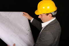 Worker with Plans Royalty Free Stock Images