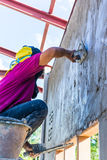 Worker plastering work Royalty Free Stock Photo