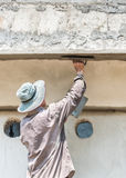 Worker plasterize the ceiling and wall concrete Stock Photos