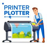Worker With Plotter Vector. Man. Large Format Multifunction Printer. Polygraphy Service. Isolated Flat Cartoon. Worker With Plotter Vector. Man. Prints Beautiful vector illustration