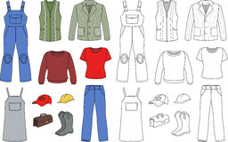 Worker, plumber man, woman fashion set Royalty Free Stock Images