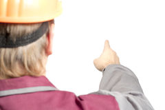Worker pointing direction with his finger Royalty Free Stock Photos